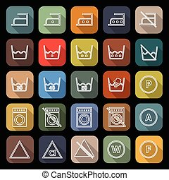 Laundry line flat icons with long shadow