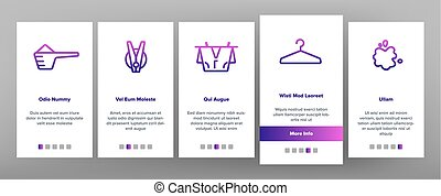 Laundry Line Icon Set Vector Onboarding