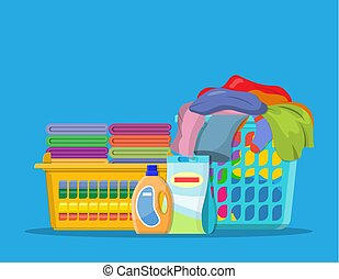 Laundry linen or clothes in baskets