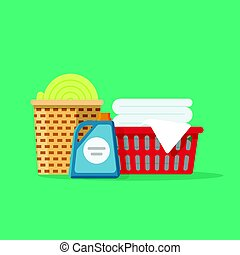 Laundry linen or clothes in baskets vector illustration flat cartoon, cleaning or washing service concept