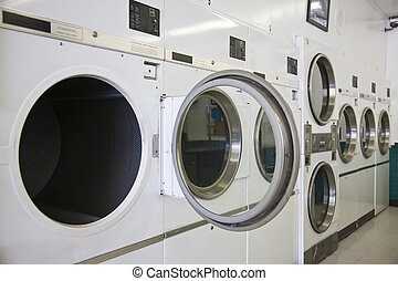 Laundry Mat - Rows of dryers at a laundry mat