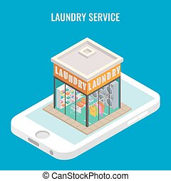 Laundry mobile vector flat 3d isometric illustration