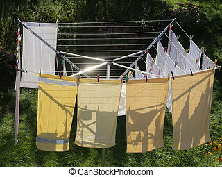 laundry on a rotary dryer
