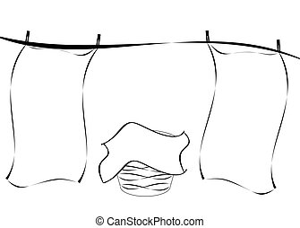 Laundry on the Line - Black and white line drawing of...