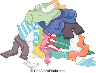 Laundry Pile Clothes - Illustration Featuring a Messy Pile...