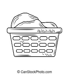 laundry plastic basket with clothes line style icon