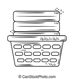laundry plastic basket with folded clothes line style icon