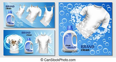 Laundry room banner concept set, realistic style