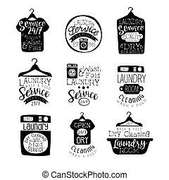 Laundry Room Black And White Label Set