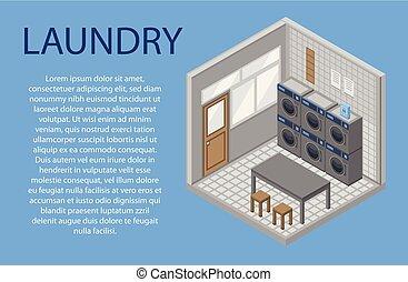 Laundry room concept background, isometric style - Laundry ...
