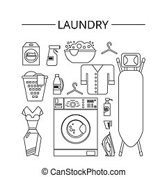 Laundry Room In Flat Style Clean Objects Cleaning Service