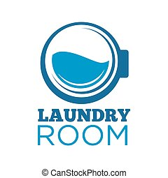 Laundry room logotype with washing machine drum illustration...