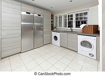 Laundry room - Modern laundry room inside big kitchen ...