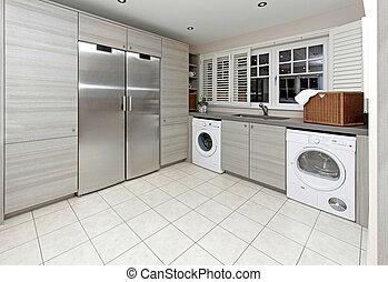 Laundry room - Modern laundry room inside big kitchen...