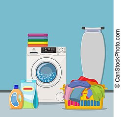 Laundry room service concept. Working washing machine with ...