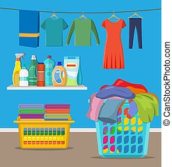 Laundry room service. linen baskets and detergent. Vector ...
