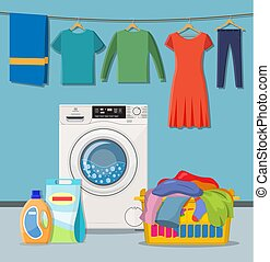 Laundry room service. washing machine with linen baskets and...