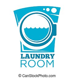 Laundry room sign - Vector illustration of blue laundry room...