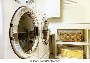 Laundry room with modern appliaces - Old style laundry room ...