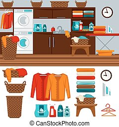 Laundry room with washer illustration. Flat vector equipment...