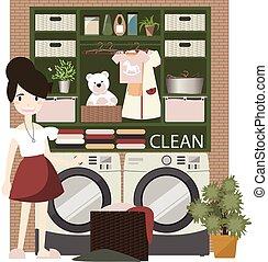 Laundry room with washing machine.