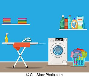Laundry room with washing machine,