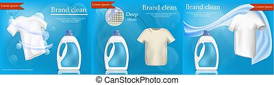 Laundry service banner set, realistic style