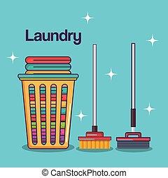laundry service clean basket cotton mop broom