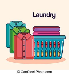 laundry service clean pile cloth basket shirts folded