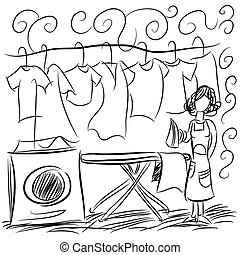Laundry Service Drawing - An image of a laundry service...