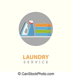 Laundry Service Icon Illustration. Pile of Colorful Clothes, Electric Iron and Laundry Softener