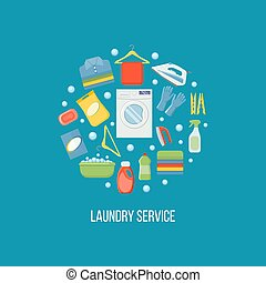 Laundry service vector illustration. Isolated on white background