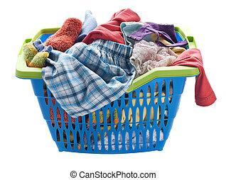Laundry - Basket with laundry isolated on white close up