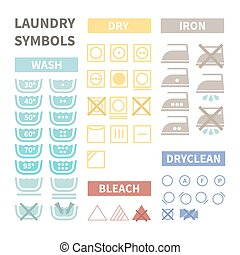 Laundry symbols - Flat set of laundry icons. Perfect cloth...