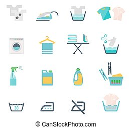 Laundry Symbols - Colored Washing Icons and Laundry Symbols...