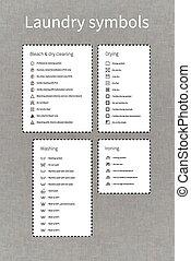 Laundry symbols labels on gray background