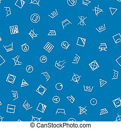 Laundry symbols on blue background seamless pattern