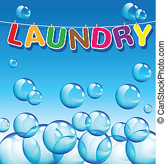 Laundry text and background of bubbles vector