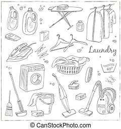 Laundry themed doodle set. Various equipment and facilities ...