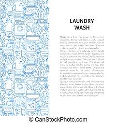Laundry Wash Line Pattern Concept. Vector Illustration of Outline Design.