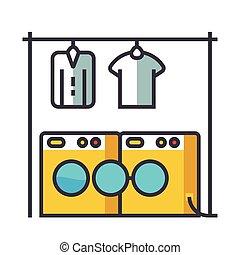 Laundry, washhouse flat line illustration, concept vector icon isolated on white background