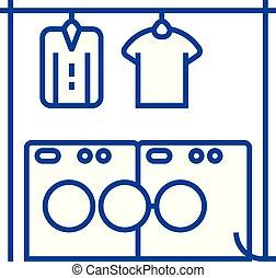 Laundry, washhouse line concept icon. Laundry, washhouse flat vector website sign, outline symbol, illustration.