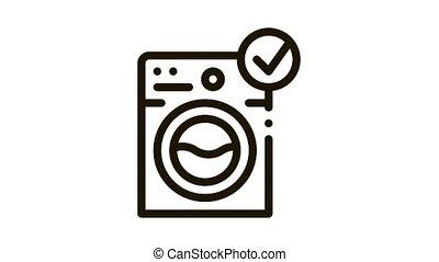 Laundry Washing Machine Icon Animation. black Laundry Washing Machine animated icon on white background