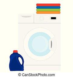 Laundry washing machine. Stack of colorful folded clothes.