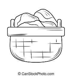 laundry wicker basket with clothes line style icon