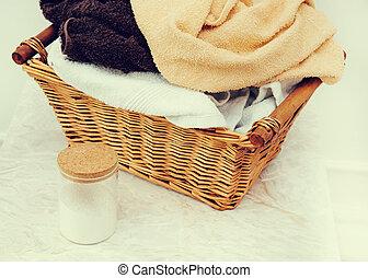 Wicker basket - Laundry. Wicker basket with dirty towels