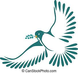 laur, liście, gołębica