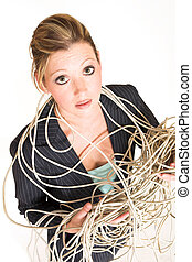 Laura Hopton 34 - Business woman tangled up in cables -...