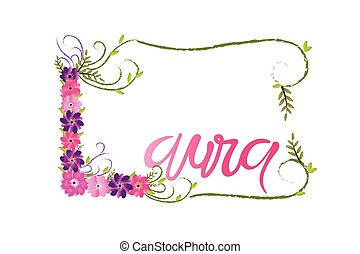 Laura woman name floral lettering