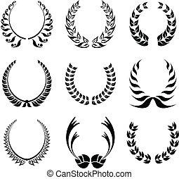 laurbær krans, symbol, sæt